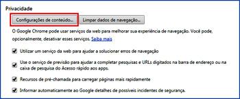 5178c127b 3- Em Privacidade clique em Configurações de conteúdo...